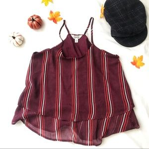 Maroon Blouse with Stripes